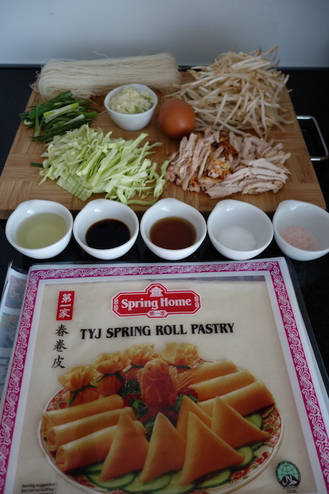All the ingredients to make spring rolls