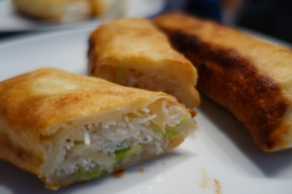 shallow-fried spring rolls
