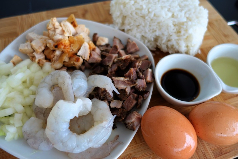 ingredients to make yeung chow fried rice