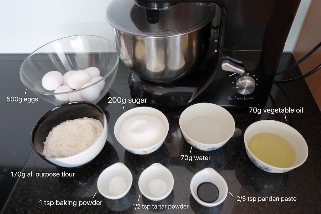 ingredients to make pandan chiffon cake