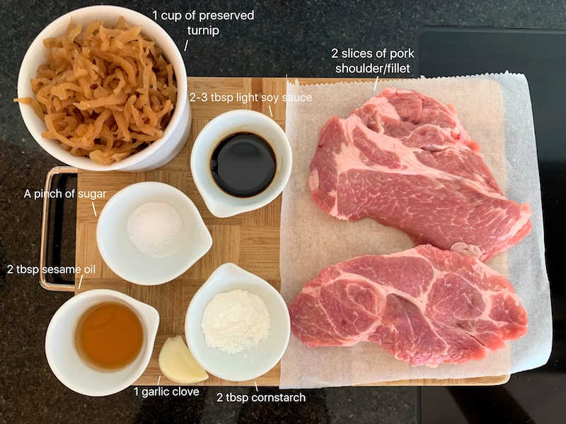ingredients needed to make Chinese steamed pork patty
