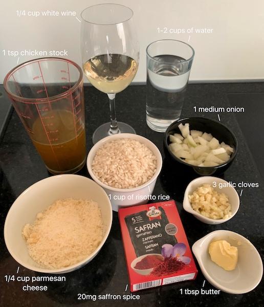 ingredients to make saffron risotto