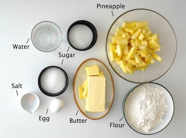 ingredients to make pineapple tarts