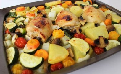 Honey mustard chicken thighs with vegetables