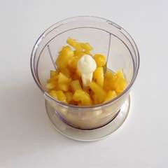 blend the soft pineapple into a jam